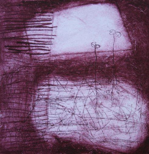 éclosions I, estampe sur papier, 12 x 12