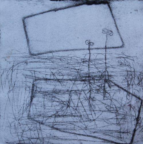 éclosions II, estampe sur papier 12 x 12 VENDU